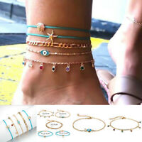 Bohemian Crystal Starfish Evil Eye Ankle Chain Bracelet Anklet Foot Jewelry Gift