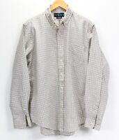 POLO RALPH LAUREN Custom Fit L Shirt Ivory Blue Burgundy Green Plaid Large