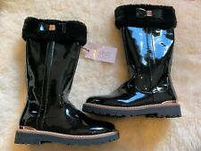 Baker by Ted Baker Black Faux Patent Fur Girls Tall Boots Size 12 UK (30.5)