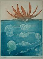 Wasseraloe, Krebsschere - Radierung – Blazovich 1989