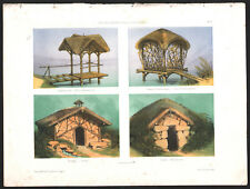 1860 Belle lithographie cabannes pêche chasse ermitage glacière architecture