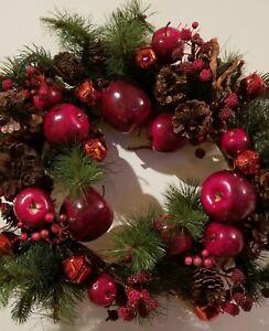 "Christmas Holiday Wreath 22"" Red Poinsettia Balls Pine Cones Velvet Ribbon New"