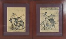 COUPLE OF INK DRAWINGS ON PAPER. MANOLETE. ALCALDE MOLINERO. 1944