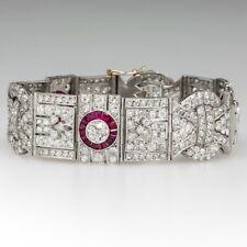 Fine Estate 1920's Antique 925 Real Silver Clear White CZ & Ruby Halo Bracelets