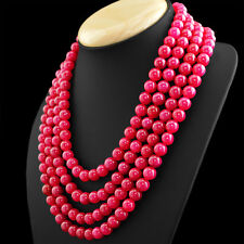 1056.00 CTS EARTH MINED RICH RED RUBY RARE 4 STRAND ROUND SHAPE BEADS NECKLACE