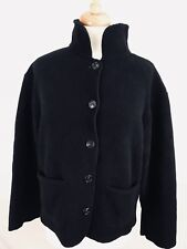 Eddie Bauer Womens Sweater Size Small Peacot Button Down Black USA Made (C