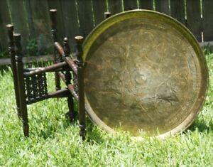 Amazing Victorian Brass and Oak Folding Occasional Table BEAUTIFUL Intricate