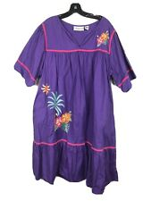 Comfort Choice Floral Embroidered Womens House Dress Nightgown Muumuu Pockets 1X
