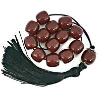 Greek komboloi/ worry beads with dark red beads, silver details and black tassel