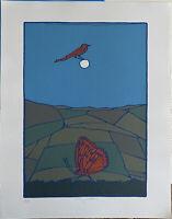 Francesco Casorati serigrafia Uccellino e farfalla 70x50 firmata numerata