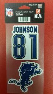 "NFL Detroit Lions Calvin Johnson Perfect Cut Decal 4"" x 8"" Sheet    w/ 2 Decals"