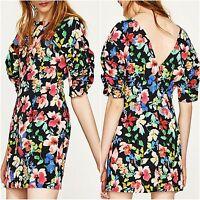 Zara Floral Short Sleeves Mini Dress Size XS M L 6 10 12 UK US 2 6 8 Blogger ❤