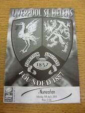 Programa de Unión de Rugby 15/04/2000: Liverpool St Helens V Nuneaton. fútbol Progs/Bo