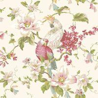 Wallpaper Designer Parrot & Cockatoo Tropical Magnolia Floral on Pearlized Cream