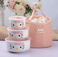 New 3 pcs Hello Kitty Ceramic Food Rice Bowl Storage Containers Set c/w Handbag