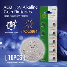 Naccon 10x AG3 1.5V Alkaline Button Battery AG3 LR41 G3 SR41W GP92A