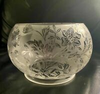 1900's  Antique Scalloped Crystal Handblown Etched Frosted Glass Lamp Shade 5""