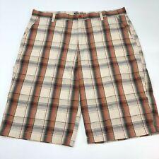 NBN Gear Shorts Mens 44 Tan Orange Gray Cotton Blend Plaid Slash Pockets Casual