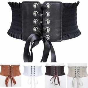 Shirred Ruffle Lace Up Corset Belt Elastic Stretch Waistband Waist Wrap Band