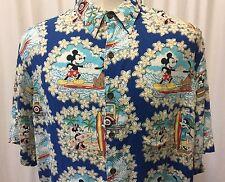 Reyn Spooner Mickey Mouse Disney Minnie Mouse Pluto Donald Duck Hawaiian Shirt L