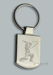 Personalised CRICKET  Design keyring BOXED engraved Free - Metal Key ring