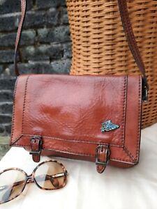 Vtg Original 60s 70s The Trend Italy Tan Genuine Leather Satchel Shoulder Bag..