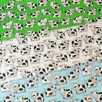 Black & White Farm Cows Bells Polycotton Fabric