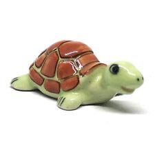 Collectible Ceramic Sea Turtle Figurine Green Handicraft Porcelain Miniature