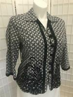 Coldwater Creek 16 White Black Floral Print Embroidery Reversible Jacket/Blazer