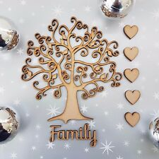 Wooden Family Tree Blank Christmas Craft Arts MDF Box Free Hearts + Family