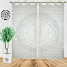 Indian Silver Ombre Mandala Window Curtains Drape Balcony Room Decor Tapestry
