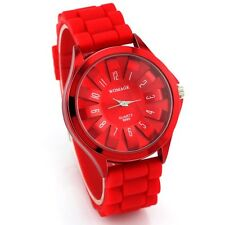 Noble Red Flower Design Women Sport Wrist Watch Girl Bracelet Rubber Band Dial 7