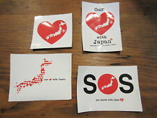 HEARTS FOR JAPAN STICKERS x4 DISASTER TSUNAMI EARTH QUAKE DONATION FUND RAISING