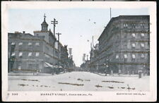 HARRISBURG PA Market Street Knisely Cigar Antique Glitter Postcard Vtg Town View