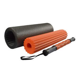 3 in 1 Pilatesrolle black 46/15 cm Yogarolle Pilates Yoga Rolle MASSAGEROLLE