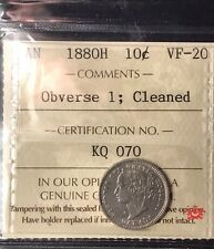 1880H Canada 10 Cents OBV 1 - ICCS VF20 - Cleaned - Old Certification KQ 070