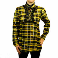 Checked Cotton Victorian Goth Long Sleeve Party Business Shirt Top 8 10 12 14 16