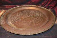 """Vintage Asian Brass Serving Tray, Wall Plaque, Table Top 22"""""""