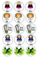 "24 or 15 2"" or 1.5"" Irish dancing cupcake tops toppers edible wafer icing sheet"