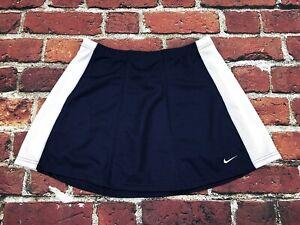 Nike team Womens Medium Navy Blue white Skirt elastic waist Mesh Jersey
