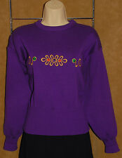 MEISTER - Purple - Embroidered Design  WOOL Blend VTG 80's Snow Ski SWEATER sz S
