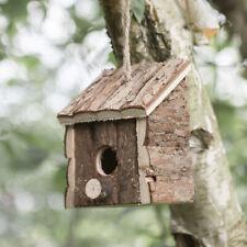 Rustic Hanging Wooden Bird Hut Feeder Novelty Feeding Station House Nesting Box