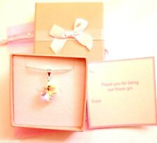 Flower clear AB Necklaces Flower Girl Gift Favour +Tag Box Bag