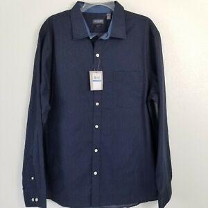 New Van Heusen Men's Button Down Dress Shirt Men's Slim-Fit XL Navy Micro Floral