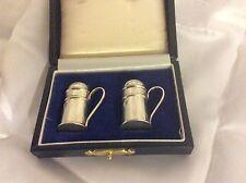 Stunning B.H Travel Miniature Salt + Pepper Tankard Shaker Solid Silver