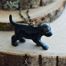 Necklace Antique Bronze Chain Ceramic Hand Painted Porcelain Black Lab Puppy