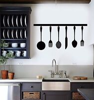 Vinyl Wall Decal Kitchen Utensils Cooking Chef and Cook Stickers (574ig)