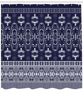 Navy Blue Shower Curtain Fabric Bathroom Decor Set with Hooks 4 Sizes
