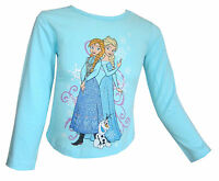 Disney Frozen Girls Long Sleeved Turquoise Top Anna Elsa 100% Cotton 2-10Y