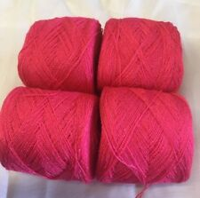 Lace yarn Crystal Color 18 Coral Acrylic/Rayon. 900 yards per ball. 1 lot of 4.